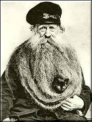 Louis Coulon, his cat and his eleven feet long beard - France 1904